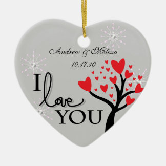 Cute Wedding Married Our First Christmas Ceramic Heart Decoration