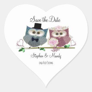 Cute Wedding Owls Heart Sticker