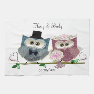 Cute Wedding Owls Personalise Tea Towel