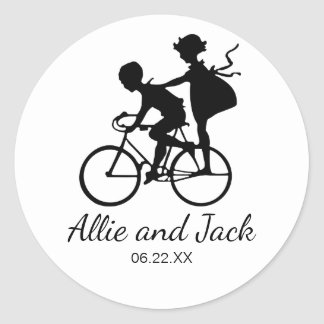 Cute Wedding Sticker with Couple on a Bicycle