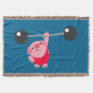 Cute Weightlifting Cartoon Pig