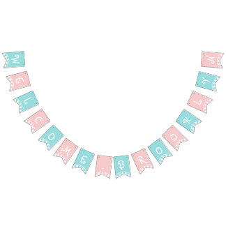 Cute Welcome Baby Pink Blue Custom Color With Name Bunting