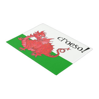 Cute Welsh Red Dragon on Green, White Croeso Doormat