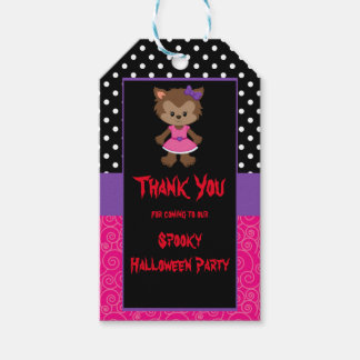 Cute Werewolf Girl Halloween Party Gift Tags