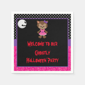 Cute Werewolf Girl Halloween Party Paper Napkin