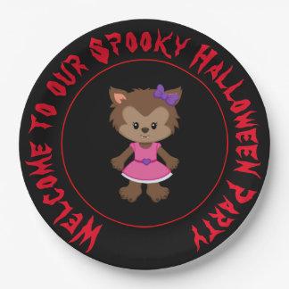 Cute Werewolf Girl Halloween Party Paper Plate