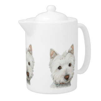 Cute West Highland White terrier dog teapot