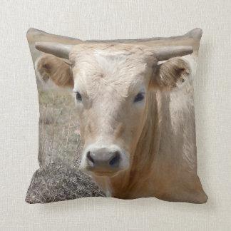 Cute Western Charolais Cow Face Cushion