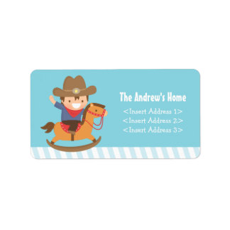 Cute Western Cowboy Kids Birthday Party Label