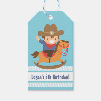 Cute Western Cowboy Kids Birthday Party Tags