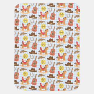Cute Western Cowboy Pattern For Baby Boys Baby Blanket