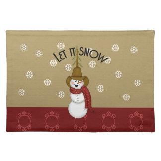 Cute Western Cowboy Snowman Christmas Place Mat