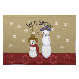 Cute Western Cowboy Snowman Christmas Placemat