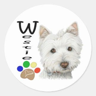 Cute Westie Dog and Paw Art Classic Round Sticker