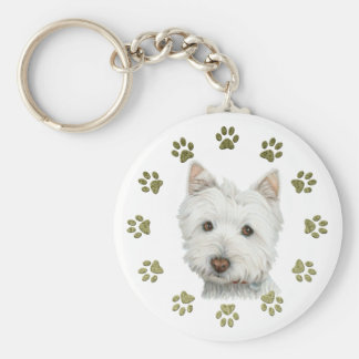 Cute Westie Dog Art and Paws Basic Round Button Key Ring