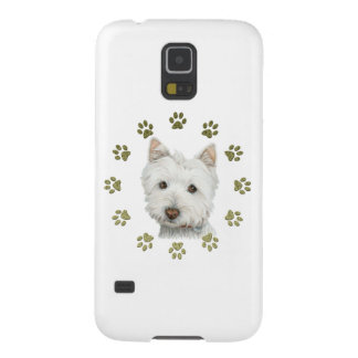 Cute Westie Dog Art and Paws Case For Galaxy S5