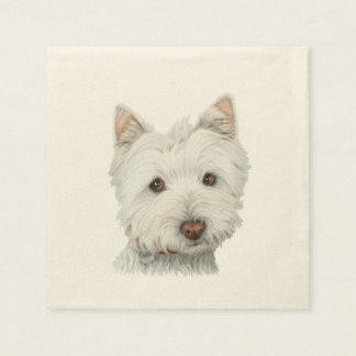 Cute Westie Dog Art Cocktail Napkin Paper Serviettes
