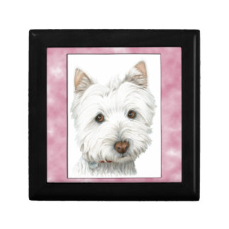 Cute Westie Dog Art in Pink Frame Small Square Gift Box