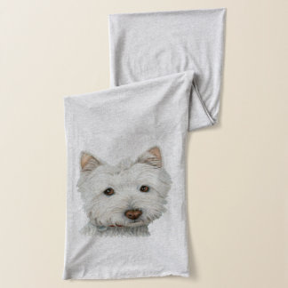 Cute Westie Dog Art Scarf