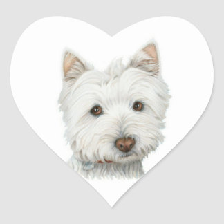 Cute Westie Dog heart sticker