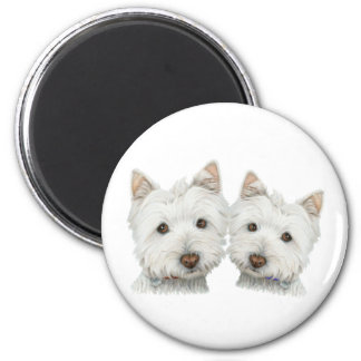 Cute Westie Dogs 6 Cm Round Magnet