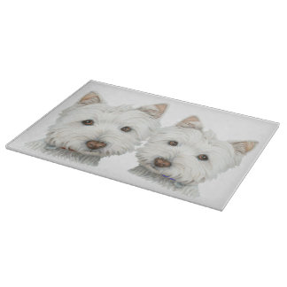 Cute Westie Dogs Art Glass Cutting Board