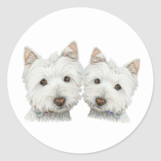 Cute Westie Dogs Classic Round Sticker