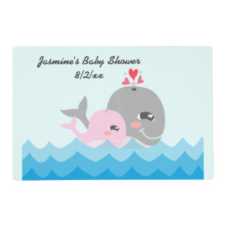 Cute Whale Girl Baby Shower Laminated Placemat