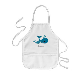 Cute whales and personalized name apron for kids