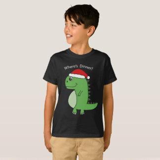 Cute Wheres Dinner Dinosaur Xmas T-Shirt