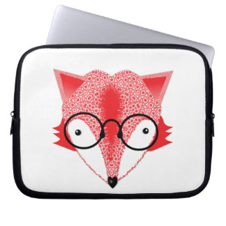 Cute Whimsical Bespectacled Funky Fox Picture Laptop Sleeve