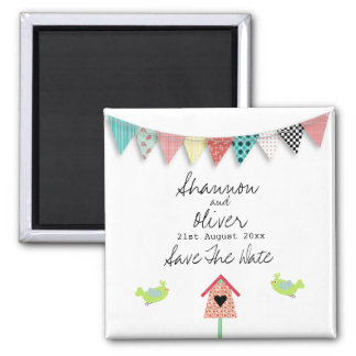 Cute Whimsical Birds And Birdhouse Save The Date Magnet