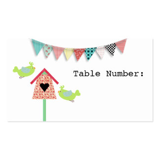 Cute Whimsical Birds And Birdhouse Table Number Business Card Templates