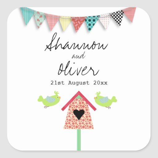 Cute Whimsical Birds And Birdhouse Wedding Favor Stickers
