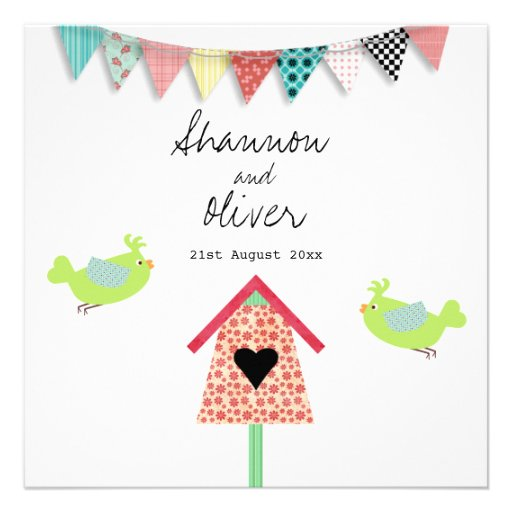 Cute Whimsical Birds And Birdhouse Wedding Invite