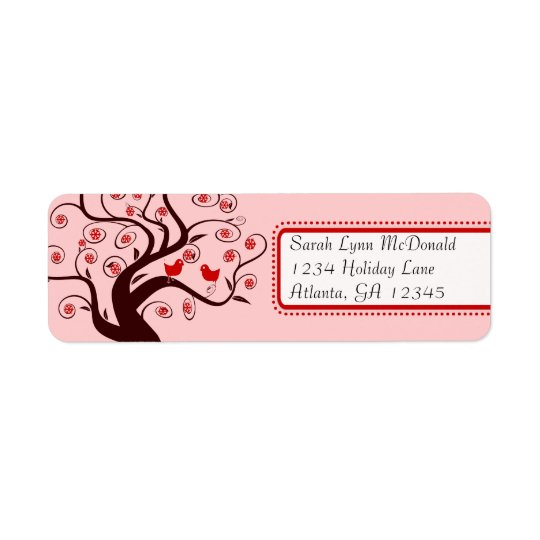 Cute Whimsical Birds in Swirl Tree Red Pink Trim Return Address Label