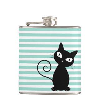 Cute Whimsical Black Cat on Stripes Flask