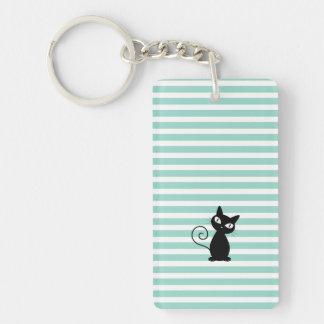 Cute Whimsical Black Cat on Stripes Key Ring