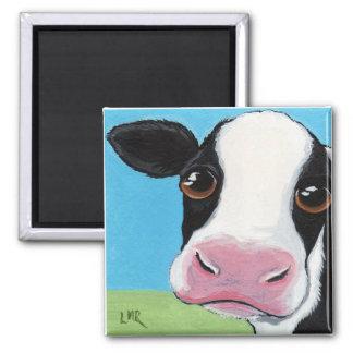 Cute Whimsical Black & White Cow Illustration Magnet