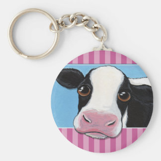 Cute Whimsical Black & White Cow with Pink Stripe Key Ring