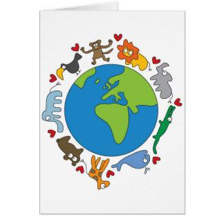 Cute Whimsical Cartoon Animals Of The World Card