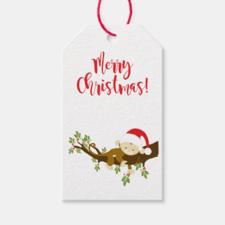Cute Whimsical Christmas Baby Monkey Gift Tags