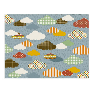 Cute Whimsical Clouds Patterns of Plaid Polka Dots Postcard