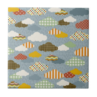 Cute Whimsical Clouds Patterns of Plaid Polka Dots Ceramic Tiles