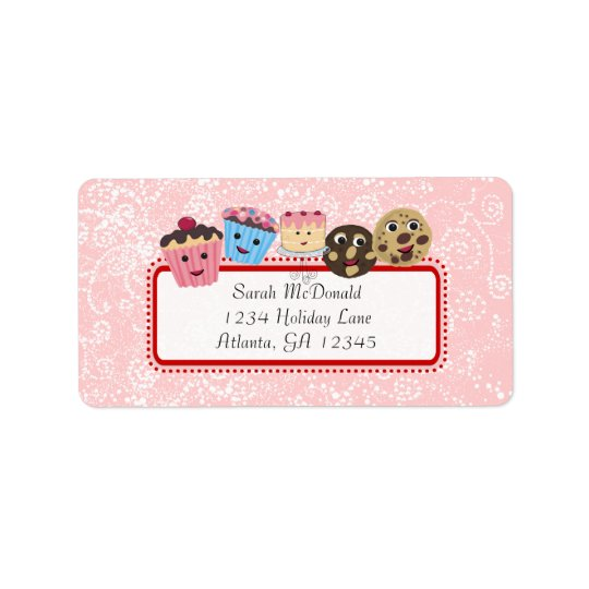 Cute Whimsical Cupcake, Cookie & Cakes Address Label