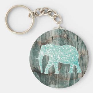 Cute Whimsical Elephant on Wood Design Basic Round Button Key Ring