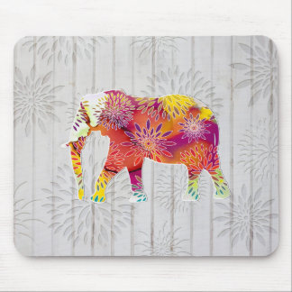 Cute Whimsical Elephant on Wood Design Mouse Pad