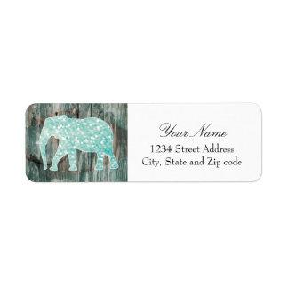 Cute Whimsical Elephant on Wood Design Return Address Label
