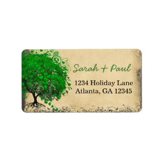 Cute Whimsical Emerald Green Heart Leafed Tree Address Label