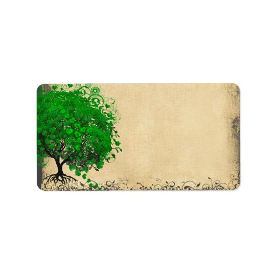 Cute Whimsical Emerald Green Heart Leafed Tree Label